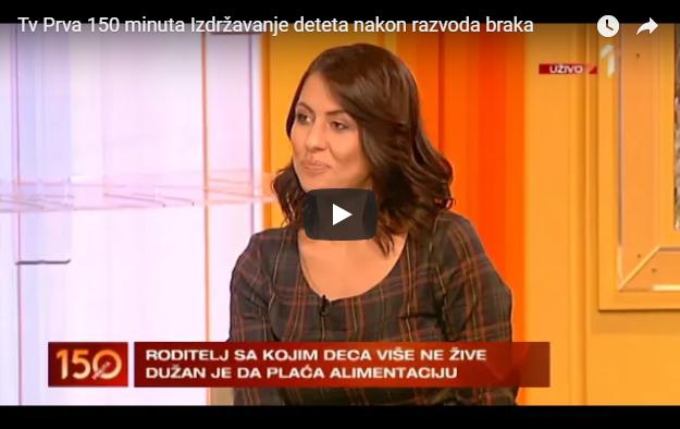 """Advokat Marija Cvjetićanin je gostovala u emisiji """"150 minuta"""" na TV Prva i pričala o izdržavanja o problemima vezanim za alimentaciju."""